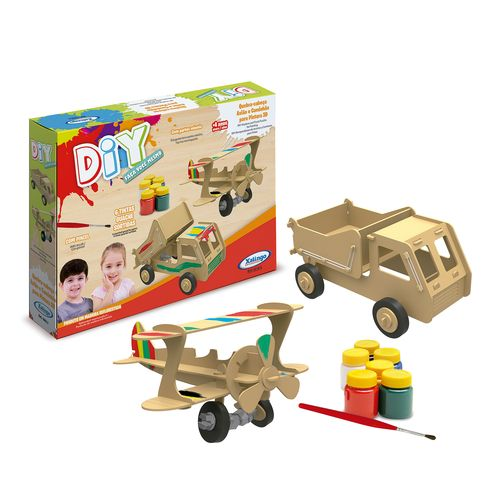 Quebra-Cabeca-DIY-Aviao-e-Caminhao-3D-para-Pintura
